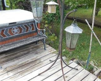 Outdoor ambiance- Wrought iron lamp stand and metal lanterns