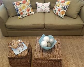 coastal decor, beautiful sofa, seagrass rugs, woven storage trunks, colorful pillows, Kincaid sofa in excellent condition