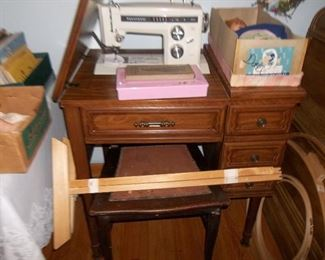 Kenmore sewing machine with cabinet, works!