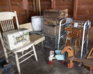 vintage boxes, chairs and doll chairs, vintage toys