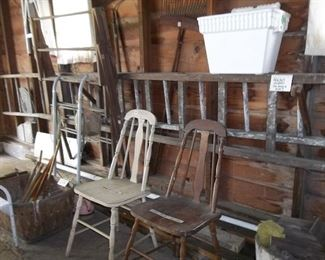 vintage wood ladders for projects and project chairs