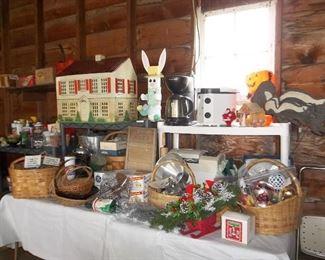 seasonal, vintage doll house, baskets