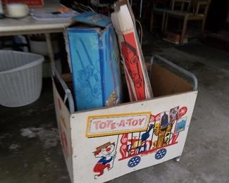 vintage toy box and race track toys