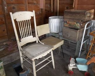 vintage chairs and wood boxes