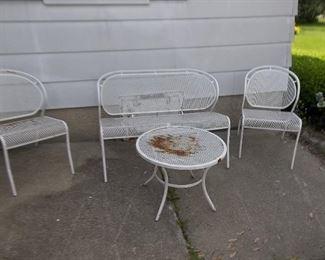 vintage four piece metal patio or sunroom set