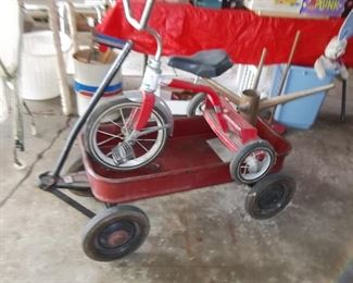 vintage wagon and tricycle