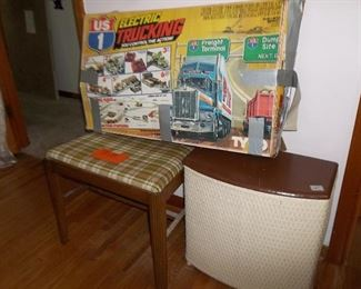 stool for vanity, and hamper, vintage Us1 electric trucking