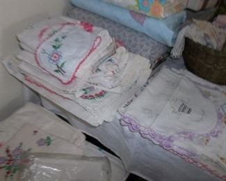 embroidered linens, a lot freshly washed!