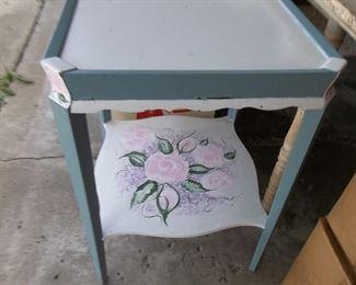 sweet folk art painted lamp table