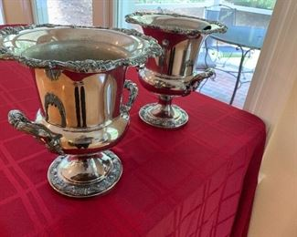 Matching pair of silver plated wine coolers