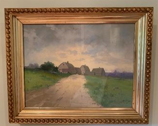 turn of the century original painting by Massachusetts artist Clarence Braley (1854 -1927)