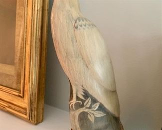 Beautiful carved horn eagle figure by Barry Stein