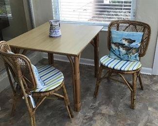 Ratan Patio Table, 2 chairs