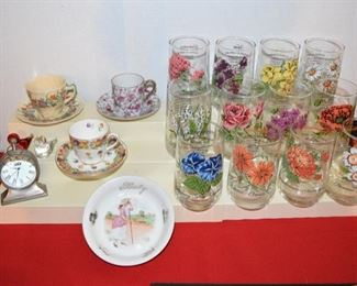 CUP & SAUCERS   FLOWER OF THE MONTH GLASSES