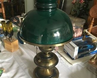 This is a nice brass hurricane lamp.