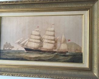I love this print of a schooner at sea.