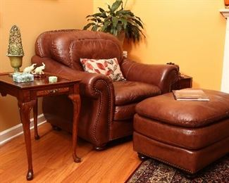 Soflex leather chair and ottoman; matching the leather sofa.