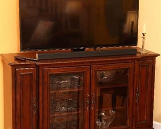 Cabinet and flat screen television.