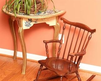 Child's rocking chair, painted demilune table.