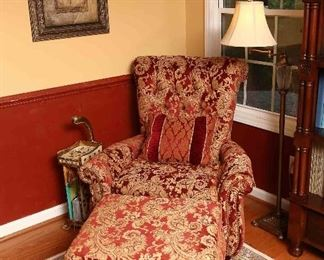 Closer view of chair and ottoman.