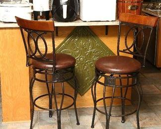 Pair bar stools, swiveling.