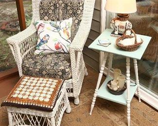 Wicker porch furniture.