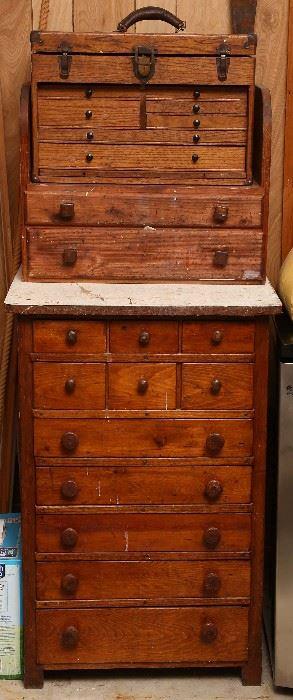 Three pieces antique tool chests.