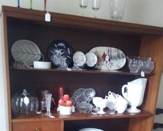 Milk glass and crystal / Mid Centry  Buffet