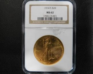 MS 62 1914 $20 Gold coin