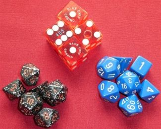 Chessex dice and dice from Blue Chip Casino