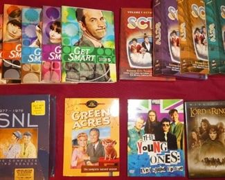 SCTV DVD collection, SNL, Get Smart, The Young Ones, Green Acres, and Lord of the Rings DVD