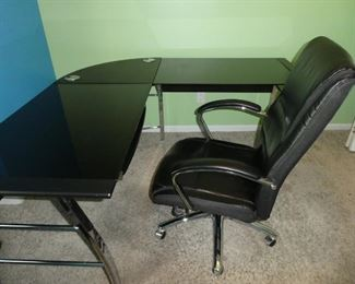 Nice corner desk with glass top and office chair