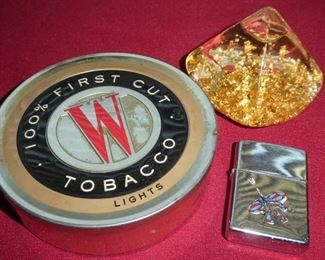 Tobacco tin, rare Zippo lighter, hand blown glass with gold flake