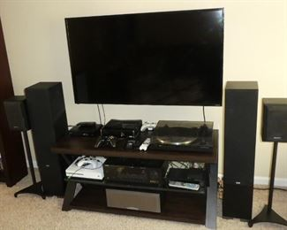 Entertainment system Vizio 55 inch TV, XBOX 1S, XBOX 360, Yamaha natural sound receiver and turntable, Sony speakers, Sony Blu Ray DVD player, Rocketfish HDMI input selector, Phono Box S, ELAC floor speakers, power strips, miscellaneous cords