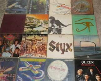Yes, Neil Young, Jethro Tull, Grateful Dead, Led Zeppelin, Bruce Springsteen, The Alan Parsons Project, Night Ranger, Kansas, Styx, Blue Oyster Cult, Supertramp, Judas Priest, Queen vinyl records