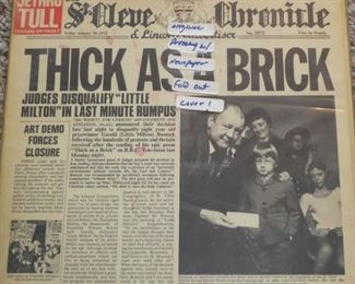 Jethro Tull Thick as a Brick first press with news paper, I label