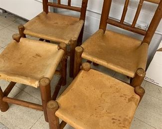 Vintage Eddie Bauer in store cabin chairs with leather seats and ottomans! Super COOL! Where yah gonna find em!?