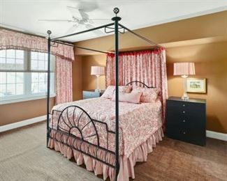 Black Iron Double Size Bed including the custom made bed cover and matching bed Drapes. Also the matching lamps and side tables.