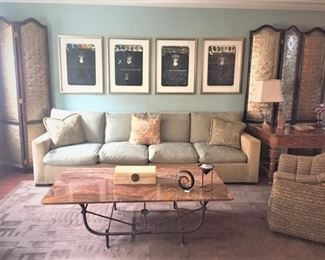 Custom made Sofa designed by  owner and Coffee Table and Screens, as well as owner designed sofa.