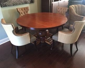 """•Dining Room Table. Large Round, with Pedestal Bulb Base. Andes International Inc. """"Mesa Bolero"""" style. 60"""" Diameter, and Dining Room Chairs Designed by owner  and Bench Built by Martin Industries of Bridgeport, Pa."""