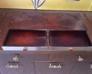 Jewelry Box Wood Metal 2 Drawers Open