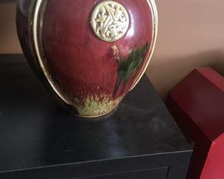 Vase Ceramic with Oriental Medallion Red Large