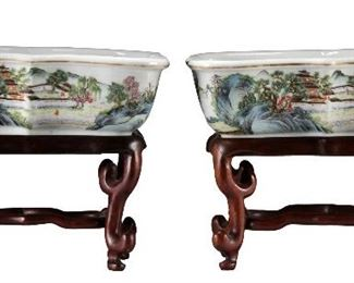 Pair of Chinese Hongxian Mark & Period Famille Rose Pots