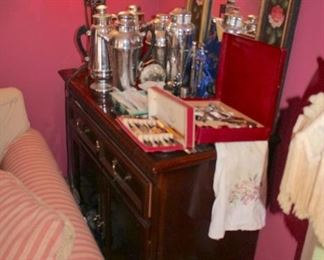Cabinet, Lamps, Decanters and more
