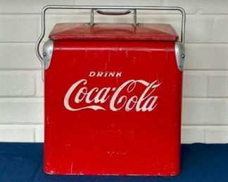"Vintage Coca-Cola Cooler - Small, 11"" tall - Action Mfg. Co, Inc., Arkansas City, Kansas."