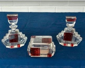 Bohemian Art Deco Dresser Set, including Perfume Bottles