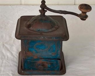 Tin Coffee Grinder with old blue paint