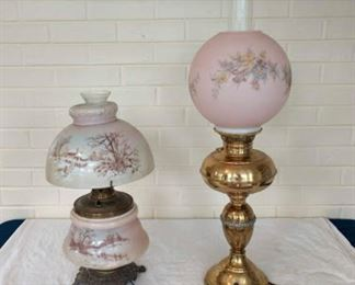 Lamps - Brass Rayo Oil Lamp with painted glass shade, electrified, and 20th Century GWTW Oil Lamp painted, electrified.