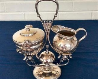 Meriden Silver-plated Cream and Pitcher with Server and Bell.  Dated June 20, 1886.