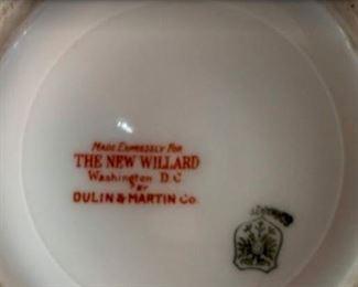 "Willard Hotel Candlestick Holder Markings - ""Made Expressly for THE NEW WILLARD Washington D.C. by DULIN & MARTIN Co."""